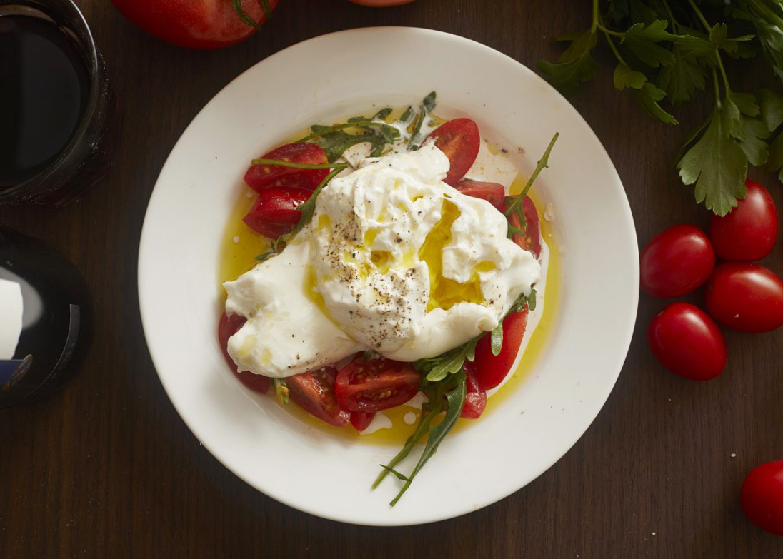 olive oil pici burrata