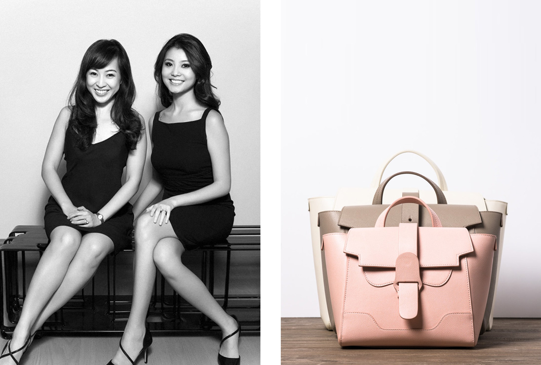Senreve co-founders Coral Chung and Wendy Wen with one of their bags