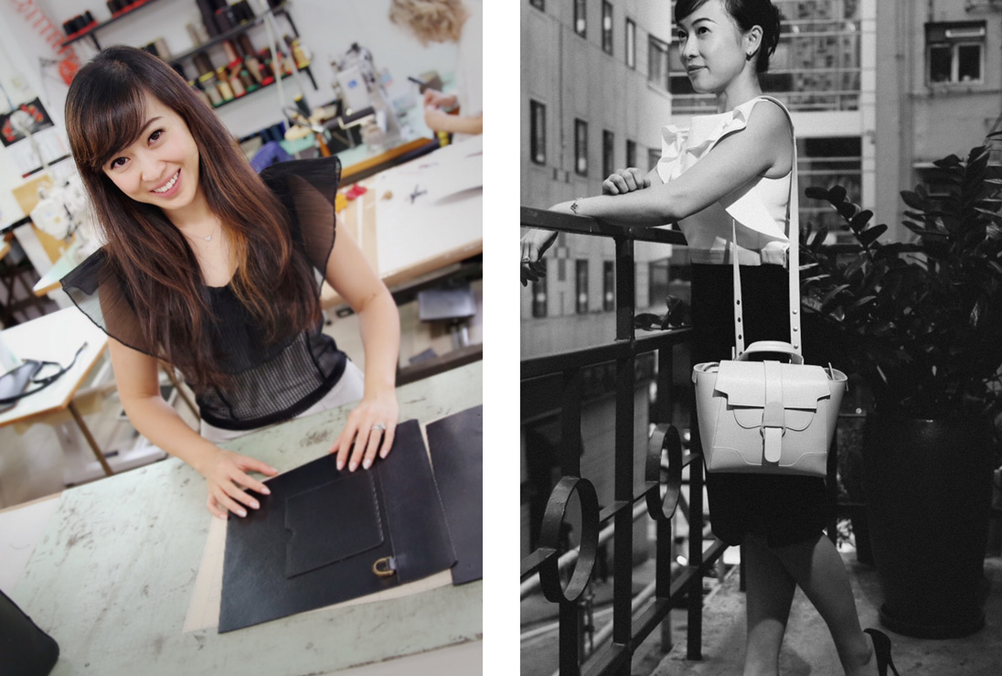 SENREVE co-founder Coral Chung and a model carrying a SENREVE bag