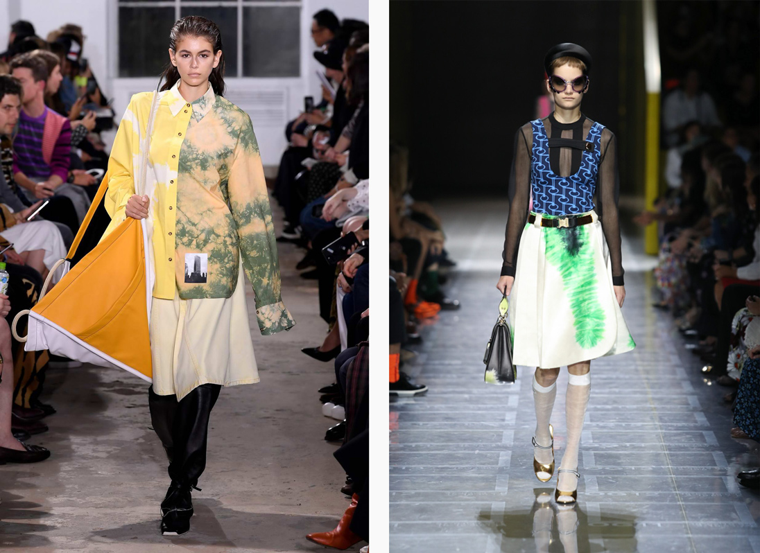Spring Summer 2019's surfer trend, as seen on the runways at Prada (left) and Proenza Schouler (right)