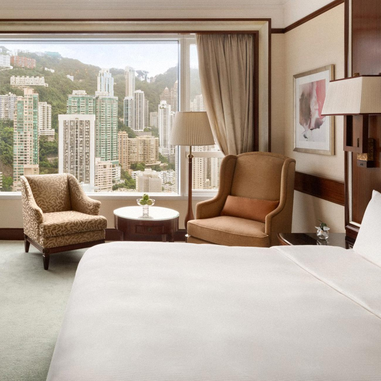 A hotel room overlooking Hong Kong