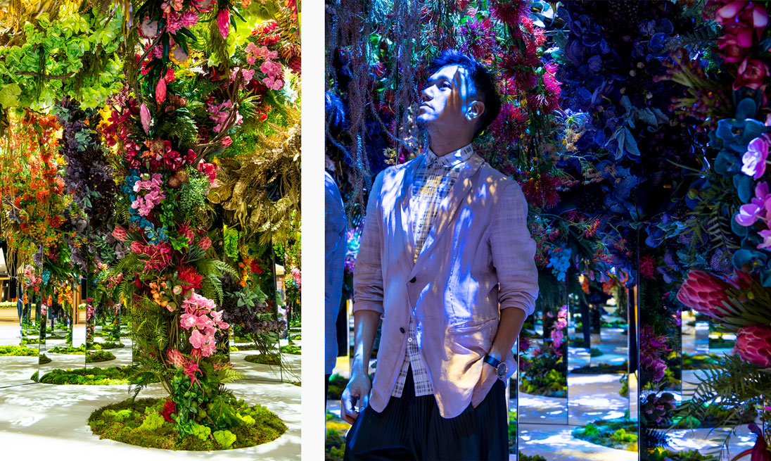 An infinity garden crafted by floral artist Kirk Cheng is nestled in the heart of the installation