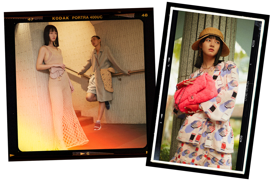 Left: A couple holding hands wear the latest looks from Bally. Right: A model poses in Chanel