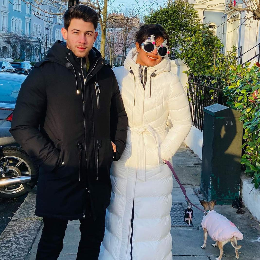 Priyanka Chopra and Nick Jonas wearing complementary outfits