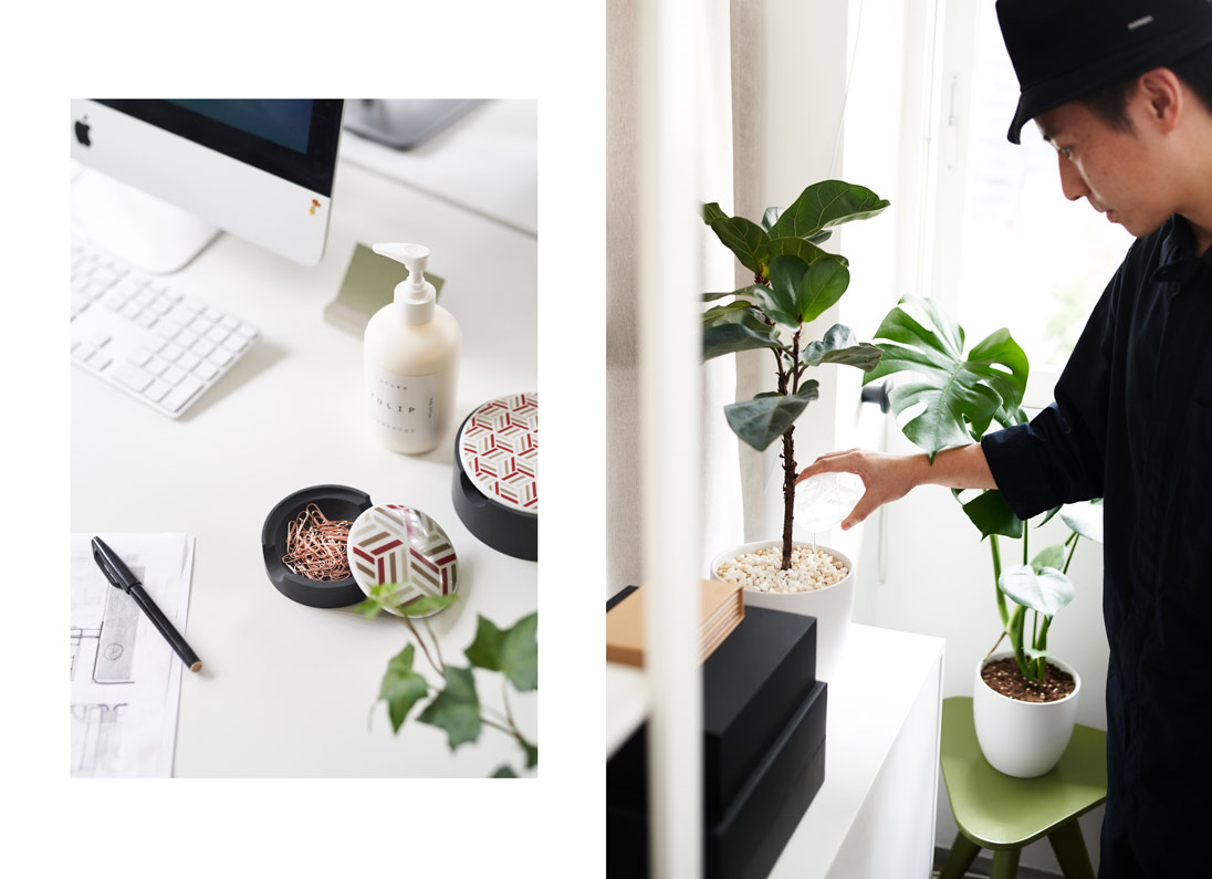 Dark Shang Xia containers complement the office greenery. 'We usually spend 30 minutes a day moving the plants around and watering them,' says Ho