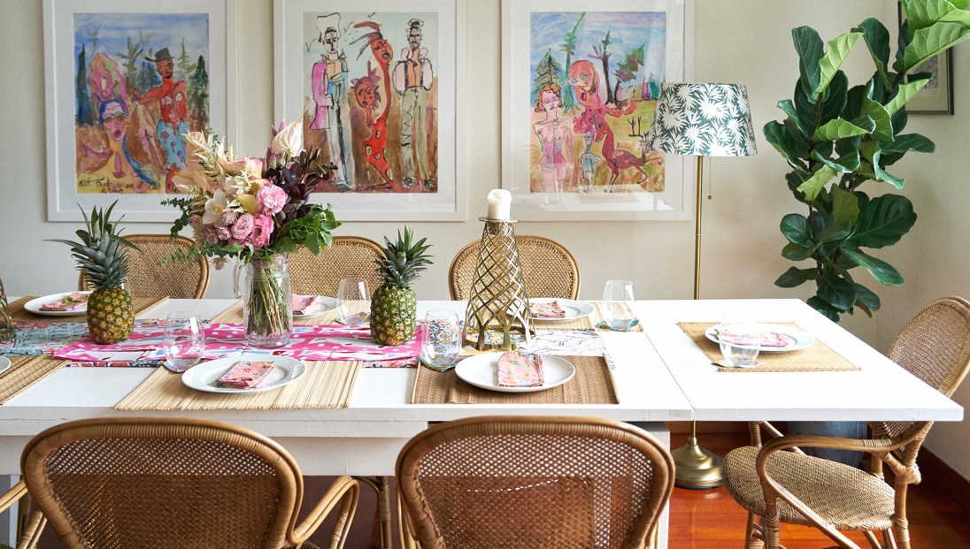 The colourful, airy and electric dining room
