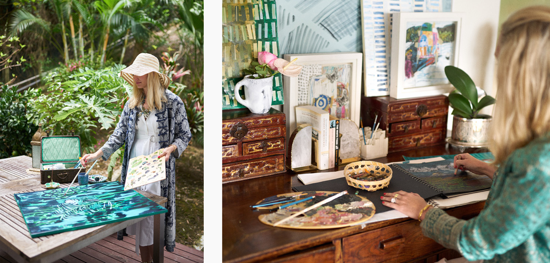 Left: Greer paints on her tranquil, lush outdoor patio. Right: Greer's sketchbook is well-used due to the home's inspirational location
