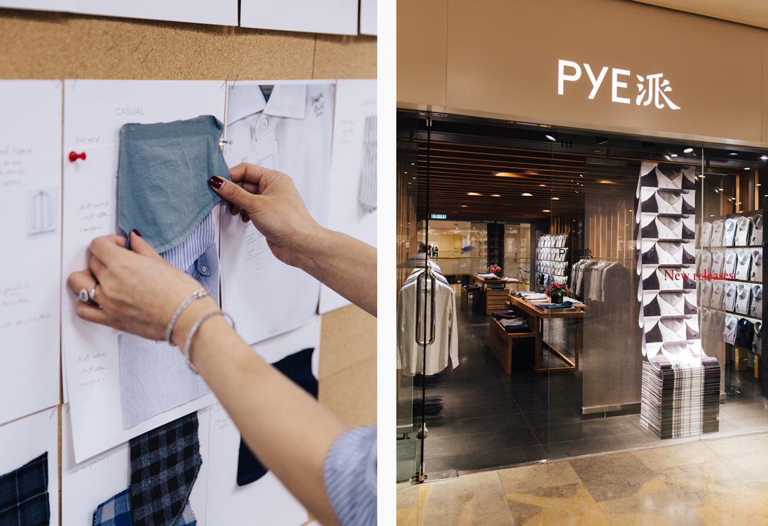 Left: Dee considers fabric swatches in the office / Right: PYE's Pacific Place store