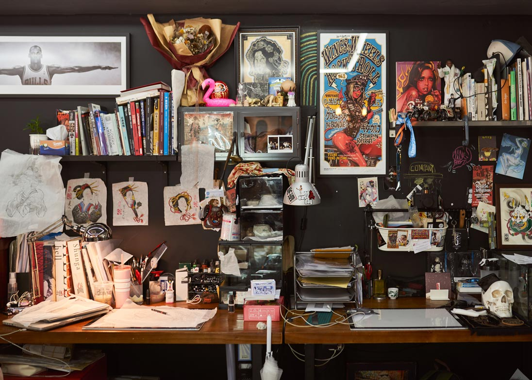The studio is filled with objects and artistic inspirations