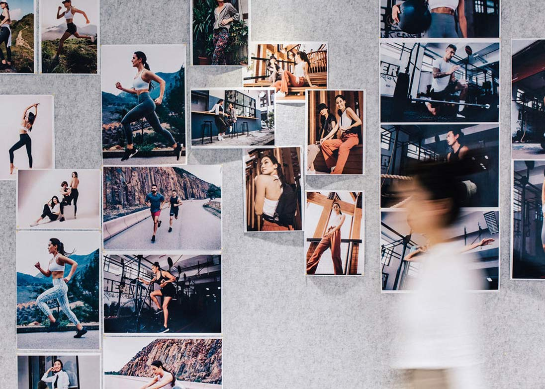A mood board at the lululemon Hong Kong office