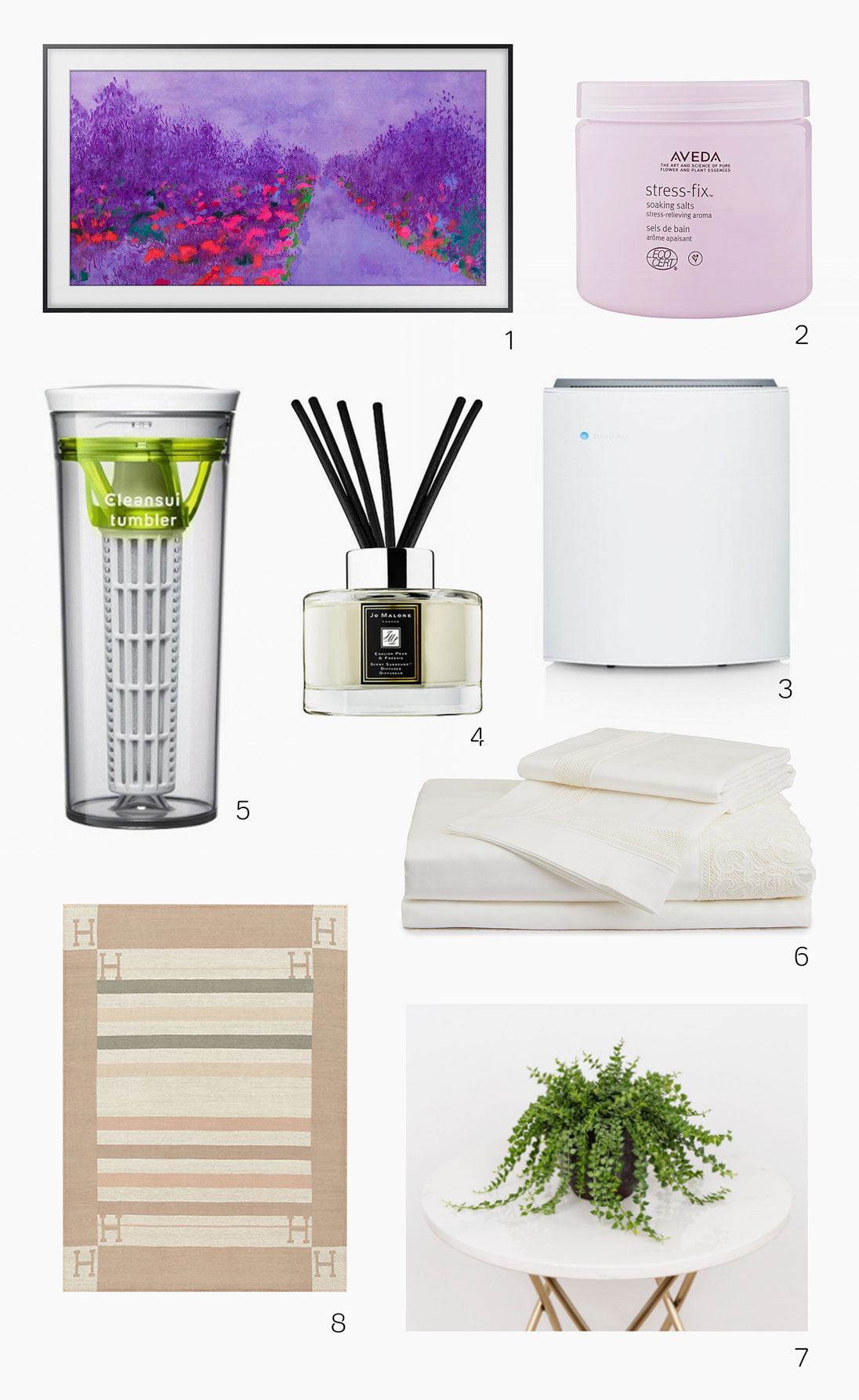 Home wellness products from Samsung, Hermès, Jo Malone, Ellermann, Cleansui, Blueair, Aveda and Frette