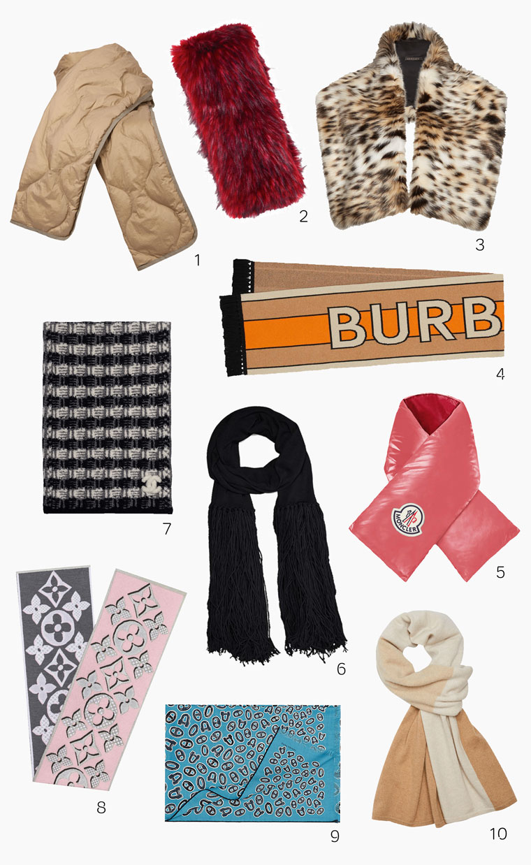 Scarves from Isabel Marant, Gucci, Versace, Burberry, Moncler, Bottega Venetta, Chanel, Louis Vuitton, Hermès and Theory