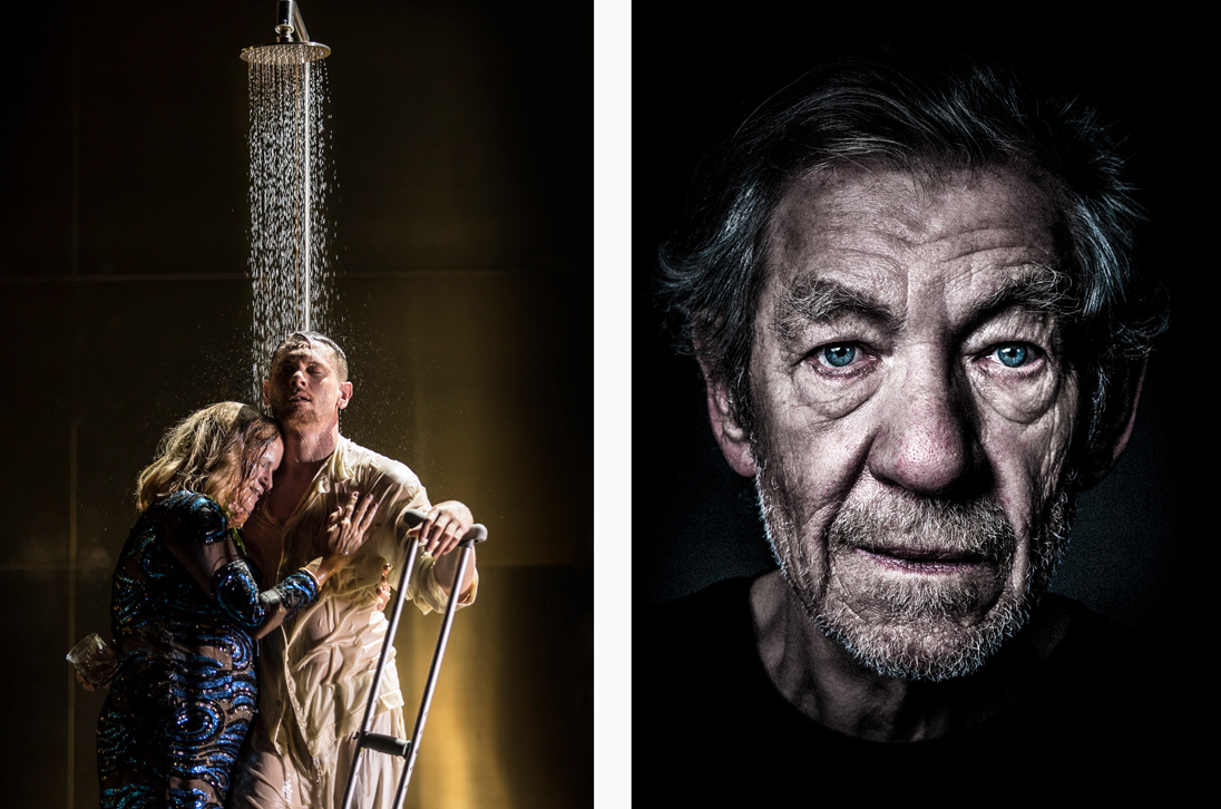 Left: Cat on a Hot Tin Roof. Right: Ian McKellen as King Lear in 2017. Image courtesy of National Theatre Live
