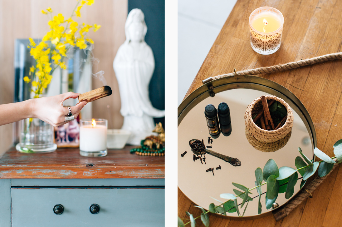Left: Burning incense can help improve mindfulness / Right: Scented candles and essential oils can help improve your home's qi