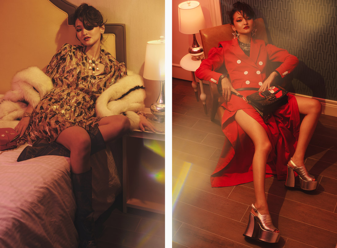 A model poses in ba&sh, Salvatore Ferragamo, Chanel, Gucci and Chloé (left) and Rosie Assoulin, Dice Kayek, Gucci and Louis Vuitton (right)