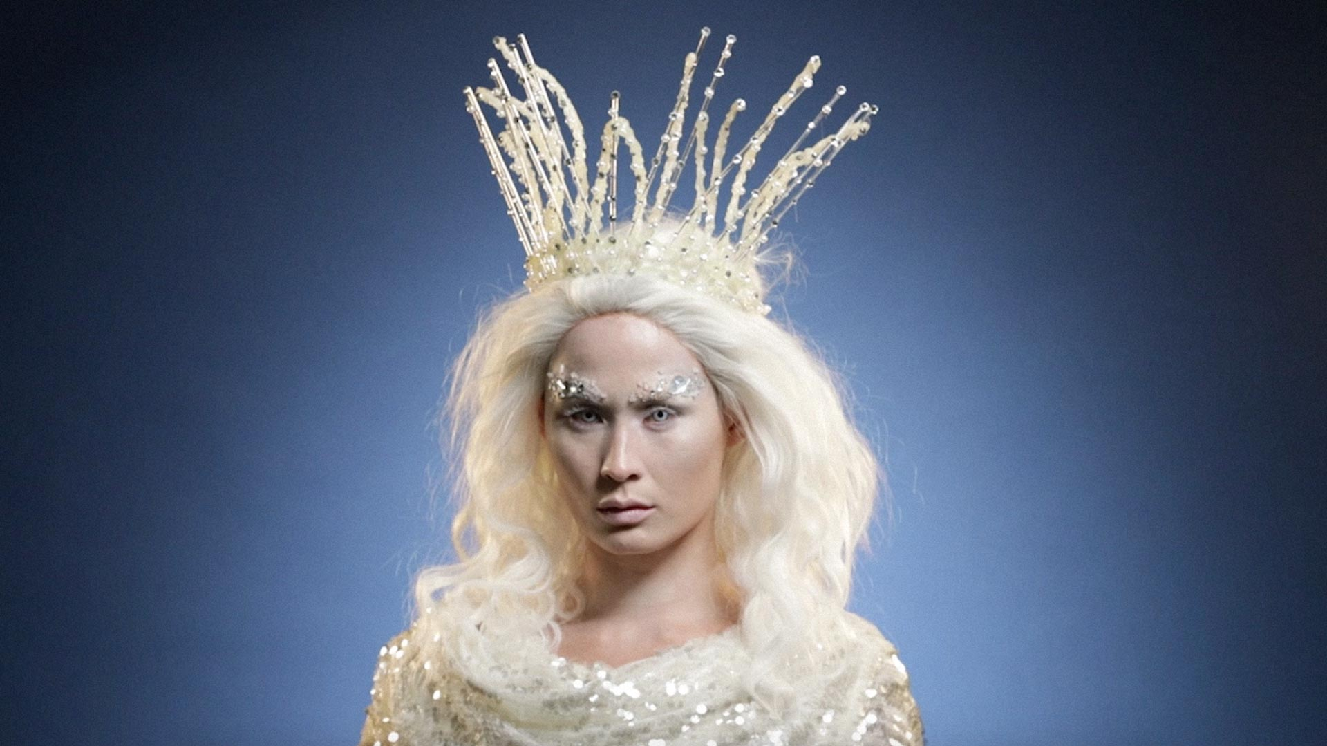 A model made up as Jadis the White Witch from the Chronicles of Narnia