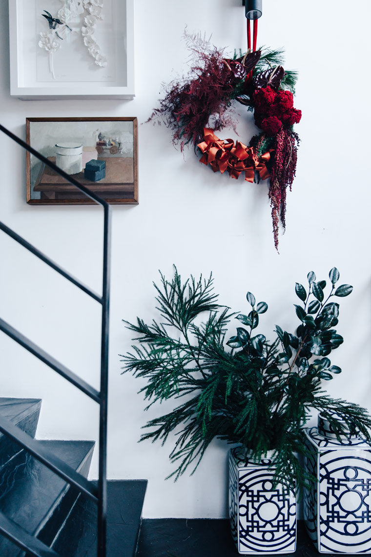 Get creative with where you hang your Christmas wreath