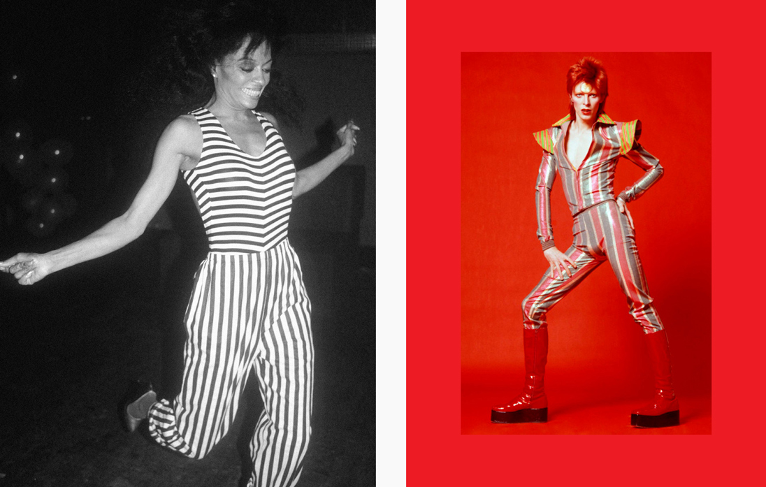 Left: Diana Ross jumps for joy in a nautically inspired jumpsuit. Right: David Bowie as Ziggy Stardust, by Masayoshi Sukita. © Sukita/The David Bowie Archive