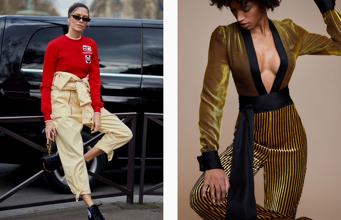 Left: Model Lena Perminova takes the jumpsuit off-duty. Image by Yu Yang. Right: Diane von Furstenberg goes gilded for autumn 2018