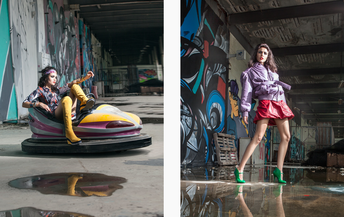 Left: A model strikes an attitudinal pose wearing a look from Hermès / Right: A model wears head-to-toe Miu Miu