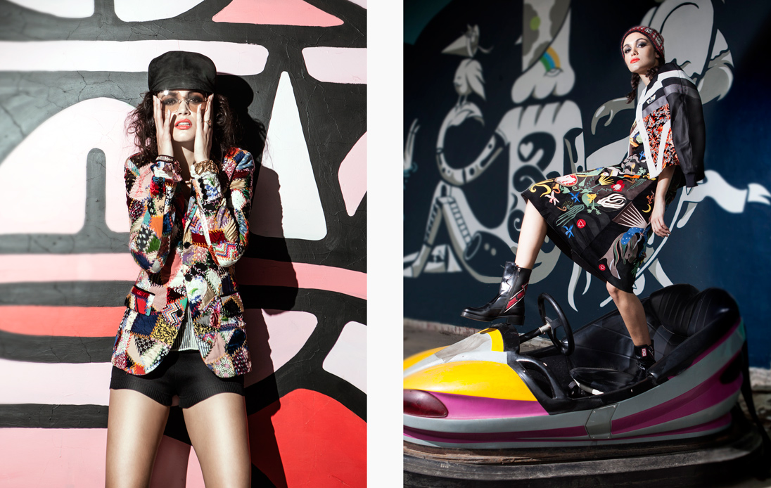 Left: A model wears a statement patchwork jacket by Dior / Right: A model poses in a dodgem car wearing Christian Dior, Louis Vuitton and Hermès