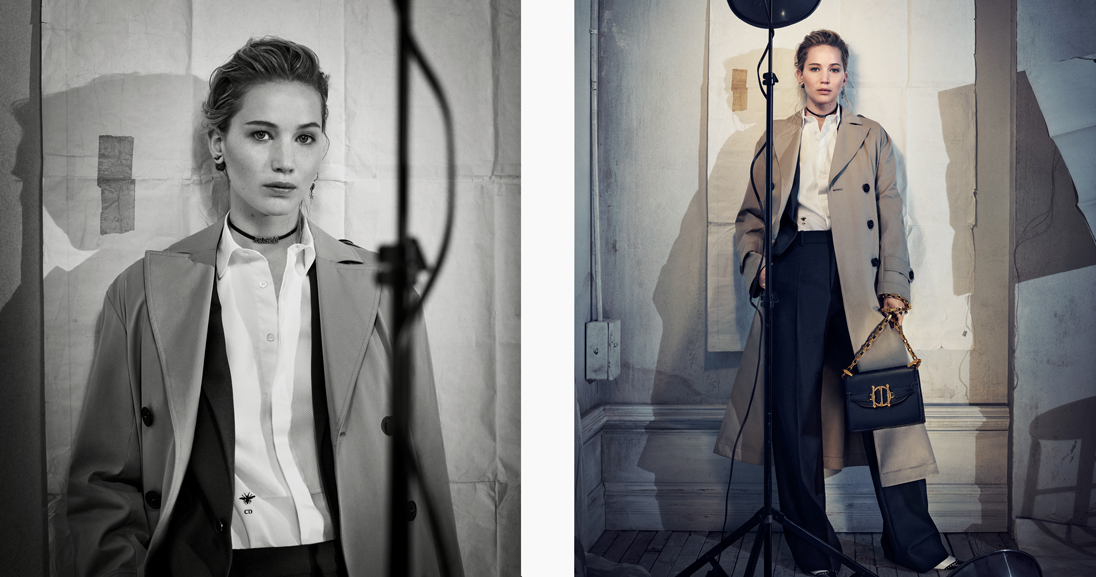 Dior muse and actress Jennifer Lawrence wearing the fashion house's modest Autumn Winter 2018 collection
