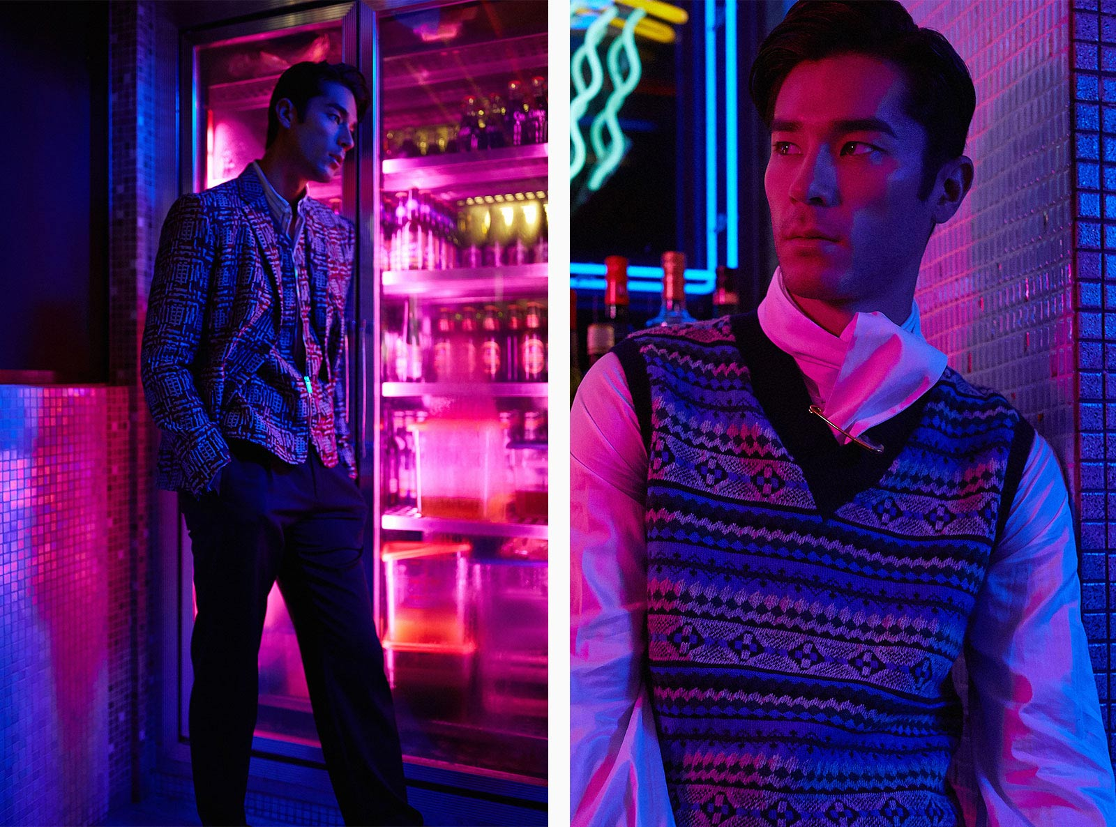 A model wears new season Giorgio Armani and Burberry while poses in a neon-lit bar