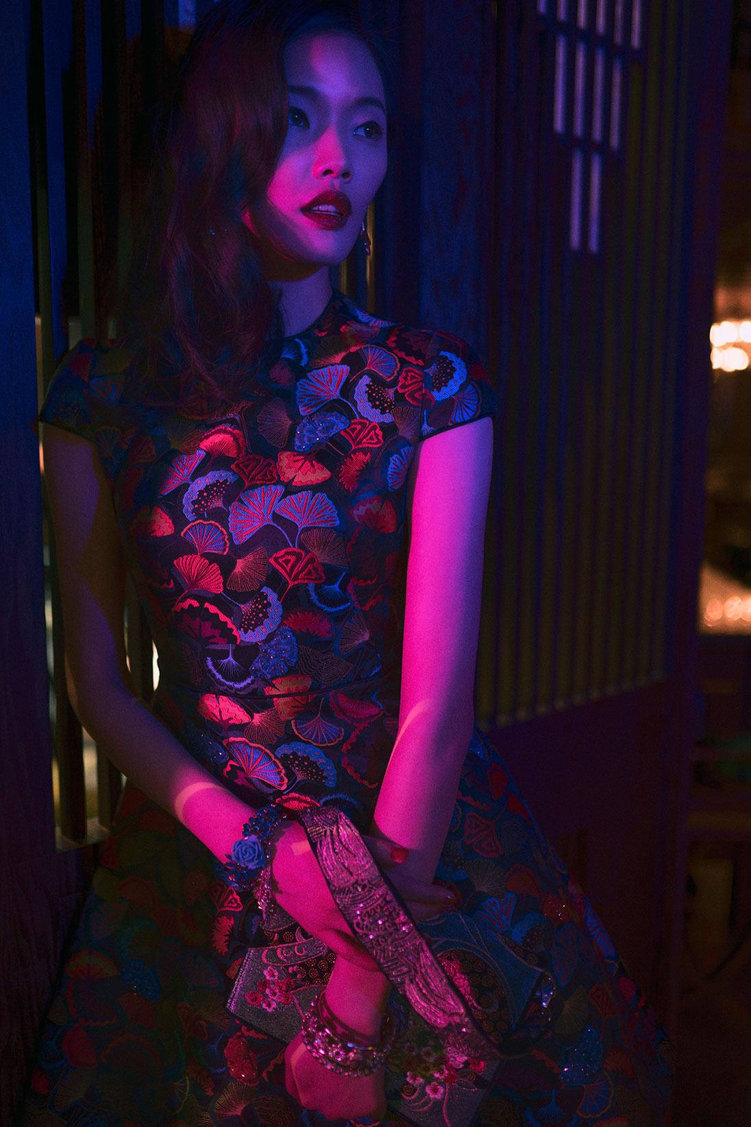 [Alt text] A model wears a chinoiserie-inspired evening look