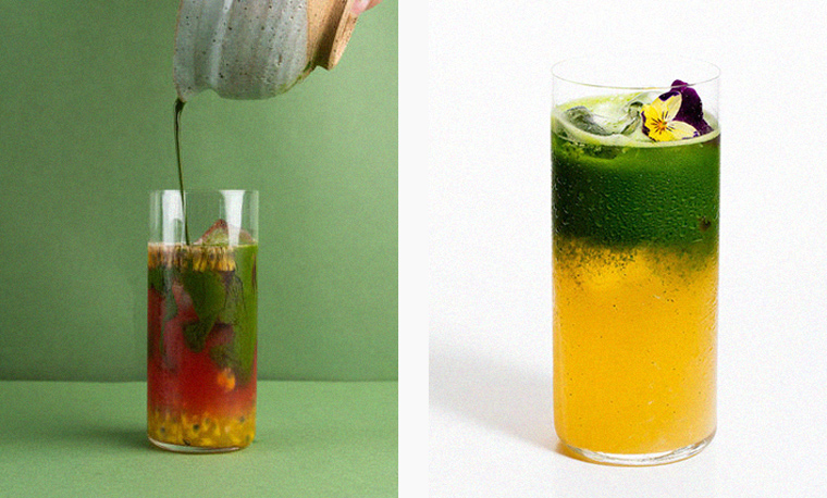 Left: Yuzu Lemonade Matcha, available at Matchali. Right: Watermelon Passionfruit Matcha, available at Matchali