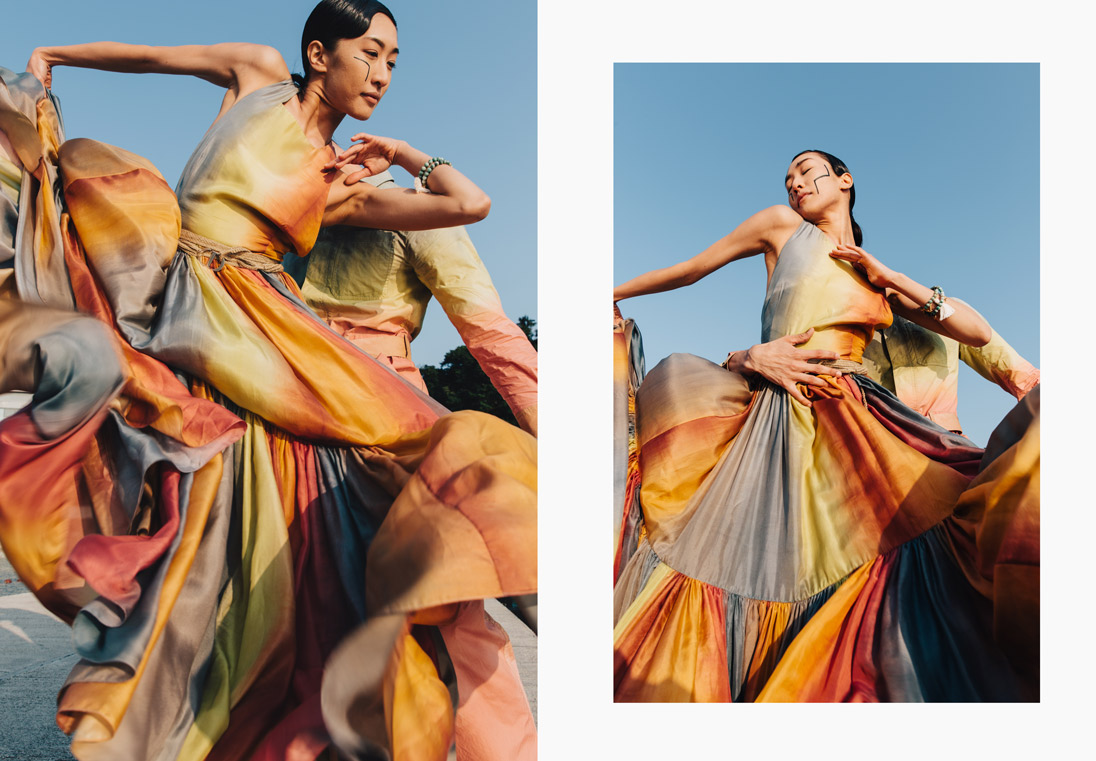A model showcases the new-season tie-dye looks of Christian Dior