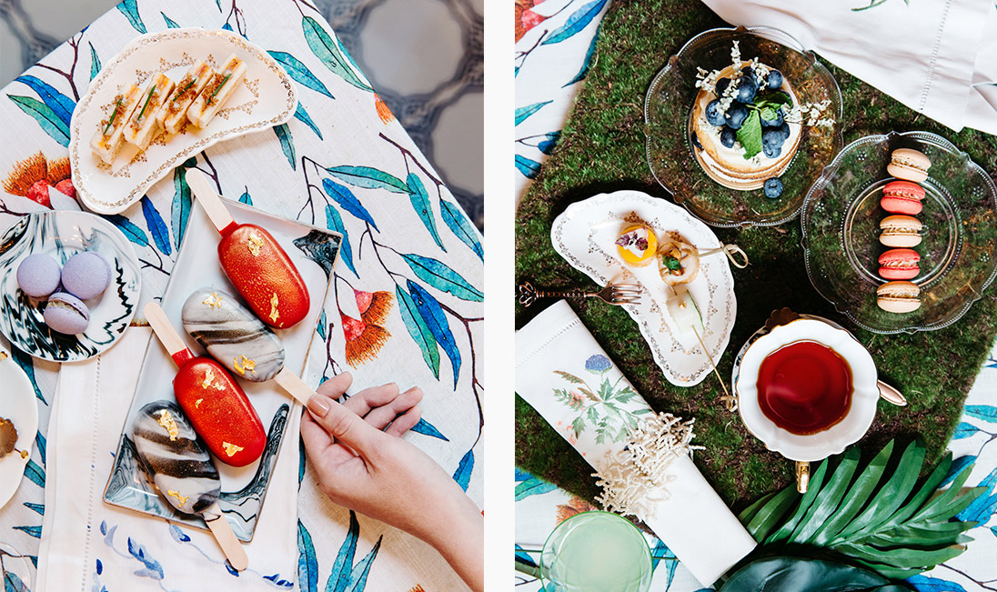 Canapés, sweet treats and cakes and tableware courtesy of Jouer, tablecloth from LALA CURIO