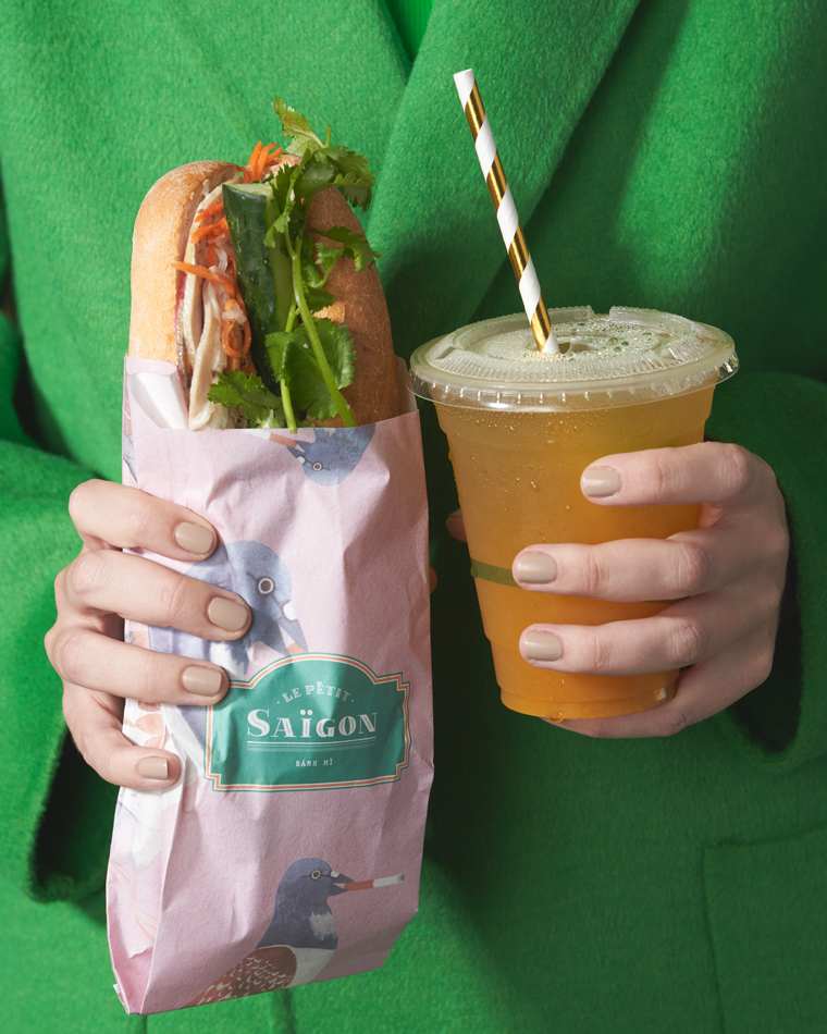 Zara Neon Masculine Coat and Strappy Neon Bodysuit from Zara, Banh Mi and Iced Passionfruit Tea from Le Petit Saigon