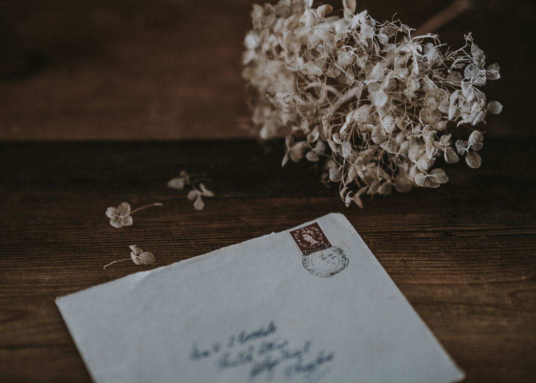 A letter next to some flowers