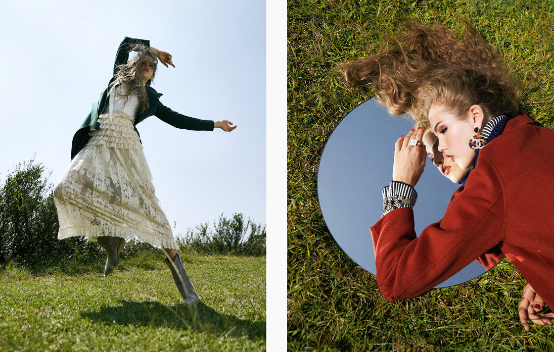 A model moves gracefully in a long Gucci skirt and Max Mara jacket / A model lays on the grass with a circular mirror wearing a red coat from Sandro