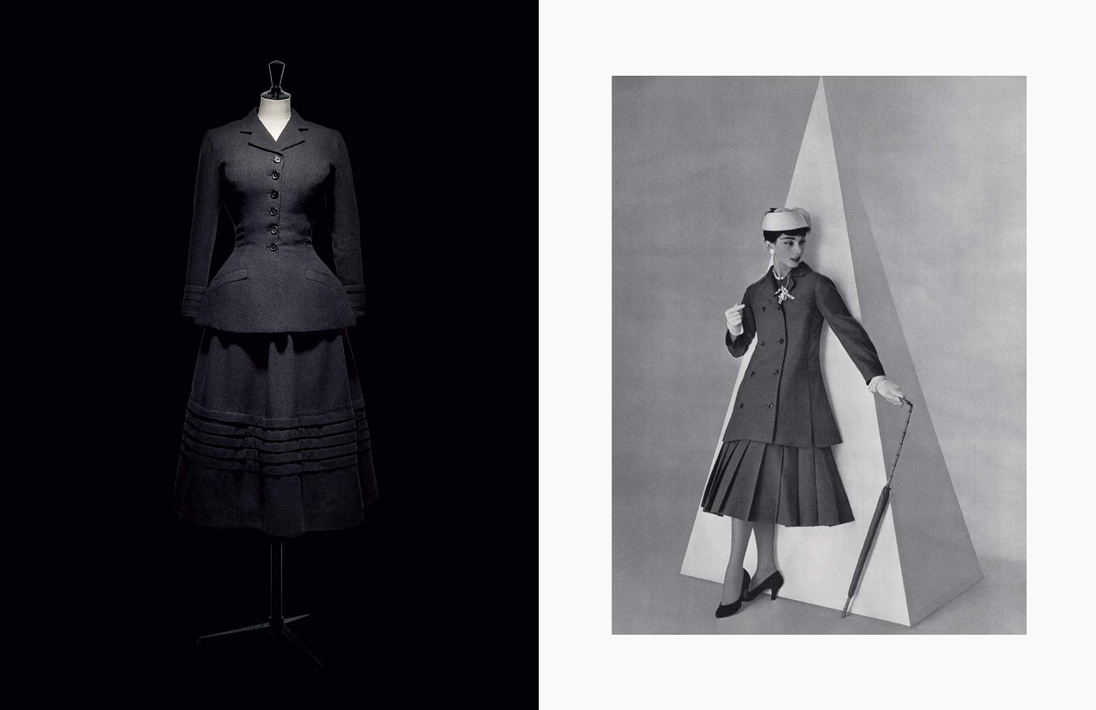 Christian Dior's New Look designs in the late 1940s featured black wool. Images courtesy of V&A
