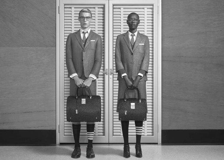 Models pose in Thom Browne outfits